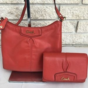 Coach Tangerine Leather Crossbody Bag & Wallet Set